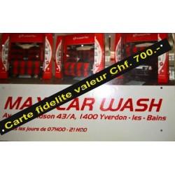 Carte Fidélité Maxicarwash Valeur 700- chf